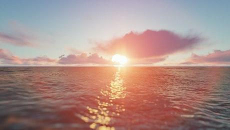 Sailing into the sunset at sea