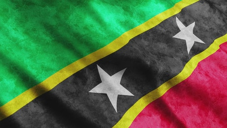 Saint Kitts And Nevis waving 3D flag