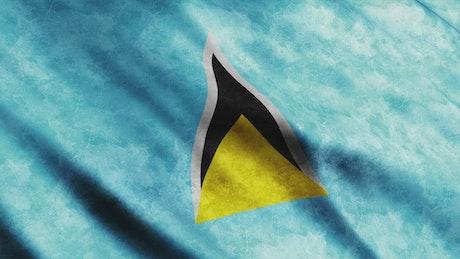 Saint Lucia flag while waving
