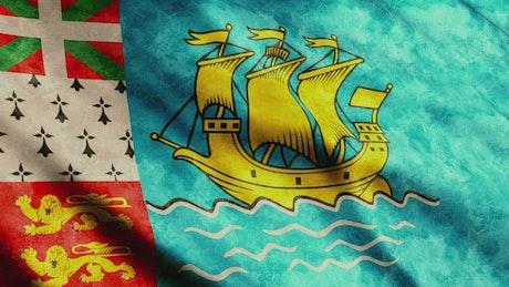 Saint Pierre and Miquelon 3D waving flag