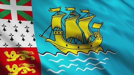 Saint Pierre And Miquelon flag waving