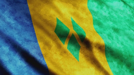 Saint Vincent And The Grenadines 3D flag waving