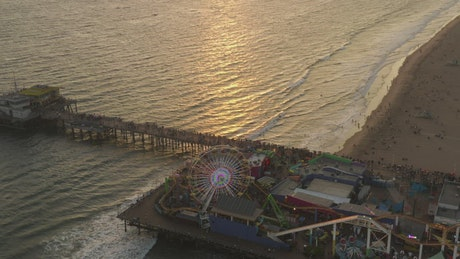 Santa Monica Pier from above during a sunset