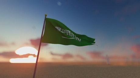 Saudi Arabia flag in the desert