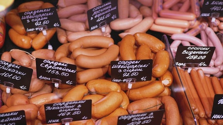 Sausage chess with price tags ready to sale