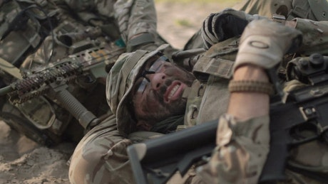 Saving a wounded soldier in the battlefield