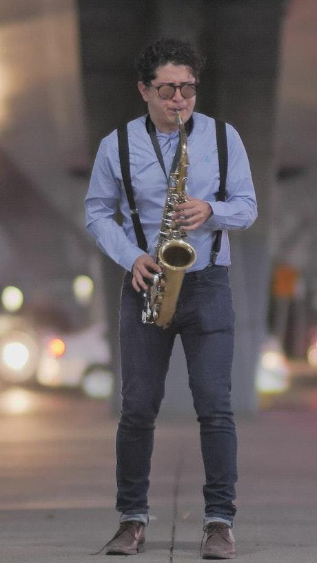 Saxophone musician on the street