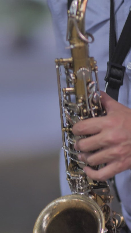 Saxophonist performing a song