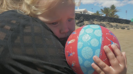 Scared girl at the beach
