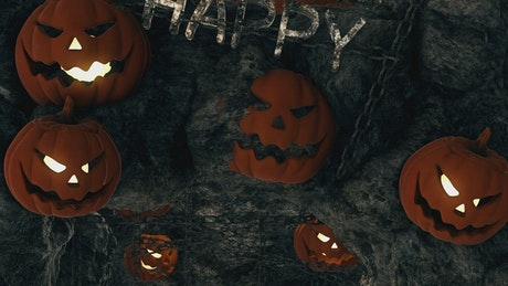 Scary Caves with Happy Halloween Sign