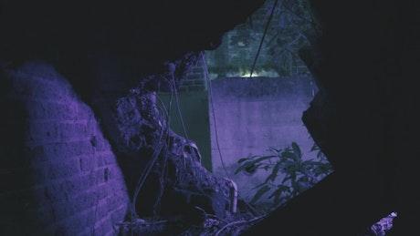 Scary clown peeking through hole in wall