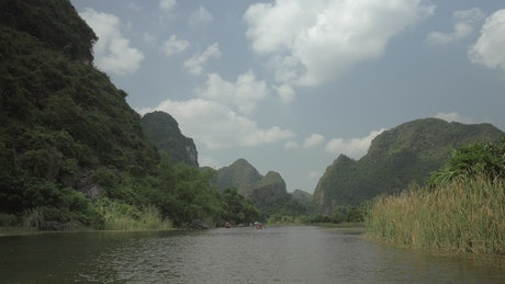 Scenic bay and mountains in Hanoi