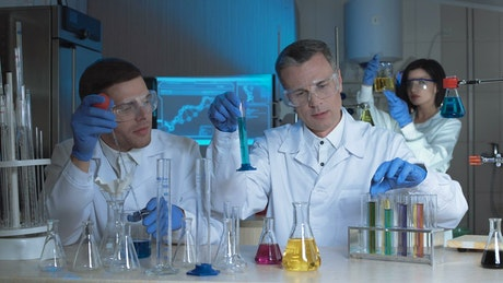 Scientists compare chemical samples