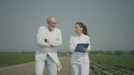 Scientists taking notes on an agricultural field