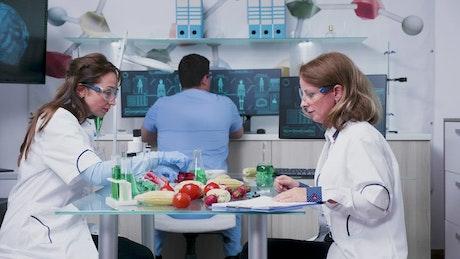 Scientists testing vegetable samples