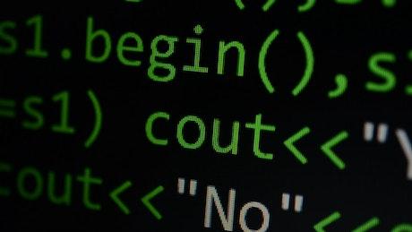 Screen with programming language