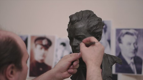 Sculptor working on a model