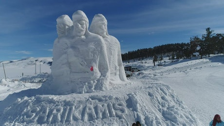 Sculpture made out of snow
