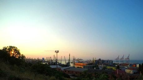 Sea trading port cranes working