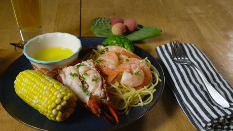 Seafood meal with salad