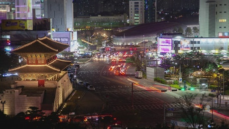 Seoul city night lights and traffic on the street