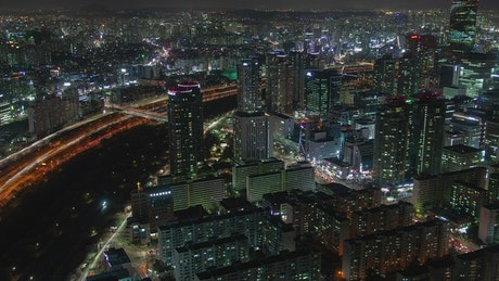 Seoul city night lights and traffic on the streets