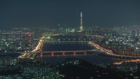 Seoul city time lapse at night