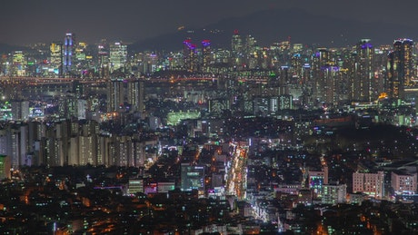 Seoul colorful city night lights and traffic