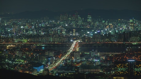 Seoul colorful cityscape at night and traffic