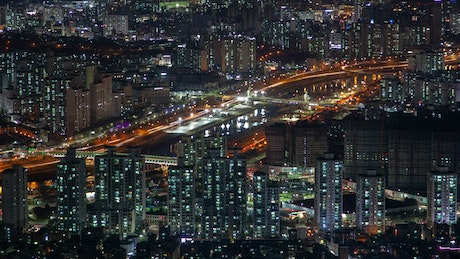 Seoul highway and the city landscape at night
