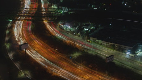 Seoul road with fast traffic at night