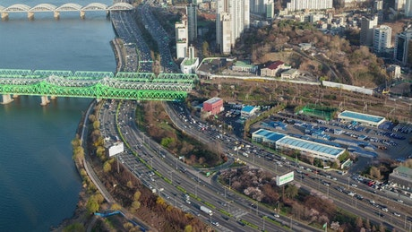 Seoul roads and railways from above