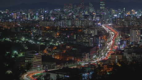 Seoul traffic at night and cityscape