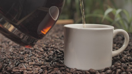 Serving coffee in a cup on coffee beans