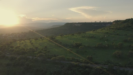 Set of plateaus seen from the heights in a sunset
