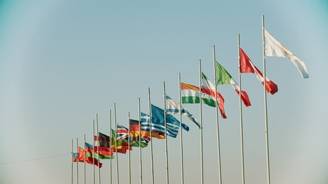 Several international flags waving in the wind