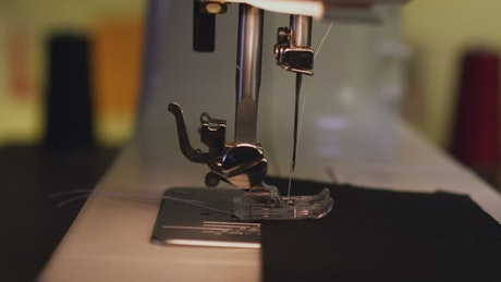Sewing machine in use