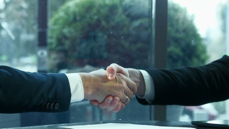 Shaking hands and signing contract