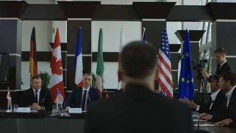 Shaking hands in an international summit
