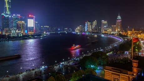 Shanghai city and the river with ferries traffic