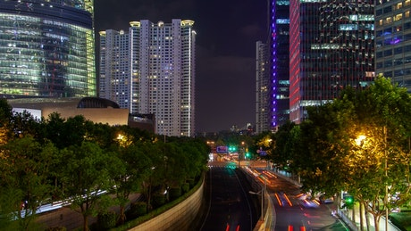Shanghai city highway and buildings landscape