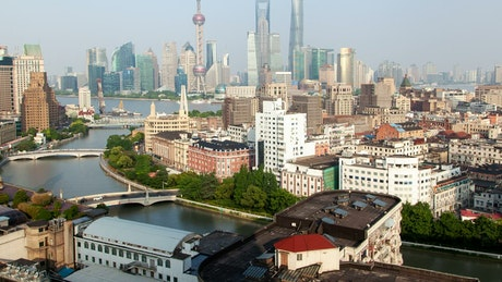 Shanghai city of skyline and the river