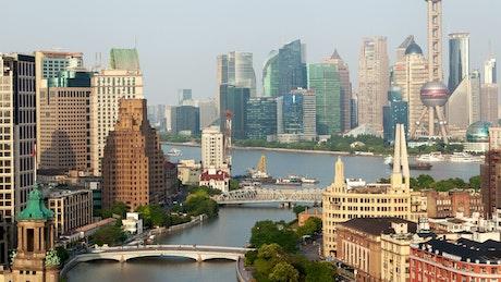 Shanghai city skyline and river