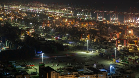 Shanghai containerport working at night