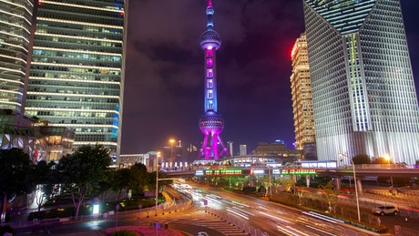 Shanghai iconic tower at night
