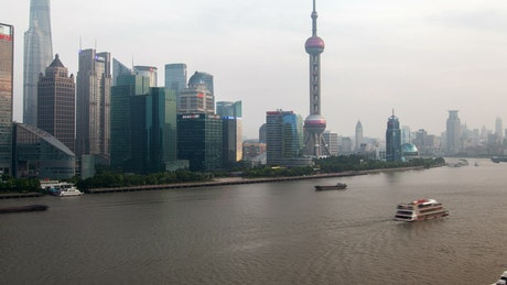 Shanghai river and city skyscrapers time lapse