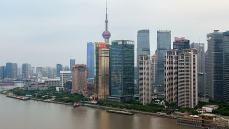 Shanghai river and skyscrapers