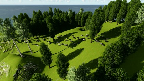 Sheep feeding on a hill with grass and trees