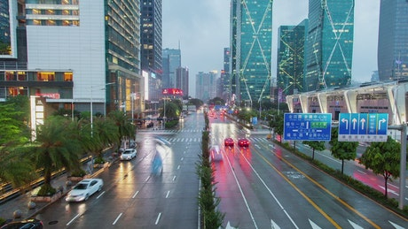 Shenzen traffic on wet roads
