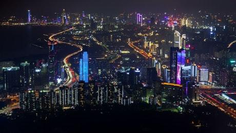 Shenzhen buildings illuminates the night